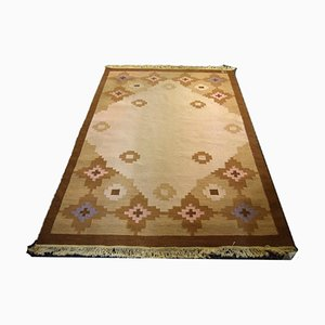 Swedish Flatweave Röllakan Carpet with Geometrical Pattern by Ingegerd Silow, 1950s