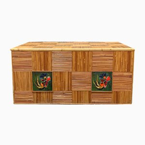 Bamboo and Ceramic Chest by Audoux & Minet, 1960s