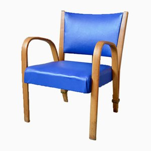 Blue Bow Wood Lounge Chair from Steiner, 1950s