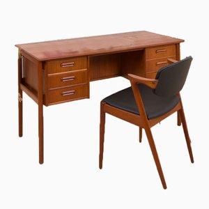 Danish Mid-Century Modern Desk in Teak with 6 Drawers, 1960s