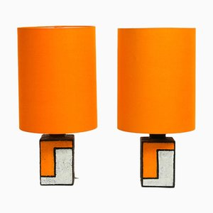Italian Ceramic Table Lamps, 1960s, Set of 2