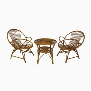 Italian Bamboo Armchairs & Table, 1950s, Set of 3