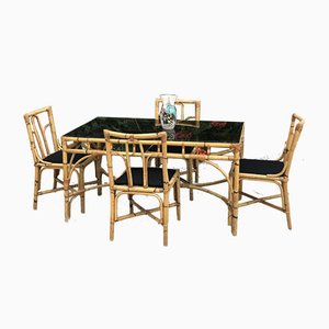 Bamboo and Rattan Table & Chairs from Dal Vera, 1970s, Set of 5