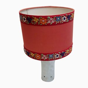 Vintage Table Lamp with White Biscuit Porcelain Base in Relief & Red Fabric Shade from Thomas, 1970s