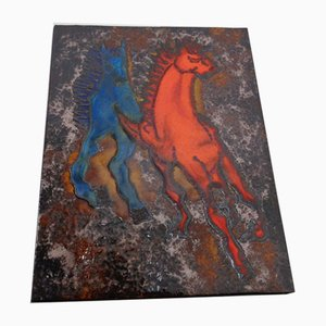 Vintage Ceramic 769 Plaque with Horses from Ruscha, 1970s