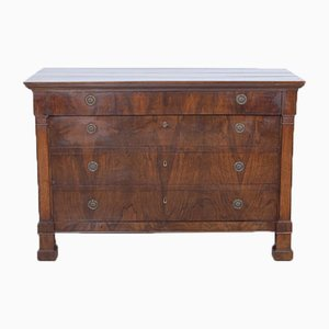 Empire Chest of Drawers in Walnut and Flame Walnut, 1800s
