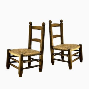 Low Wood and Straw Chairs, France, 1950s, Set of 2