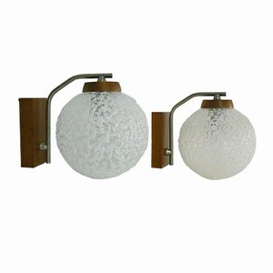 Lámparas de pared de vidrio esmerilado de Temde. Juego de 2