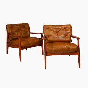 Leather Lounge Chairs by Eugen Schmidt for Soloform, Set of 2