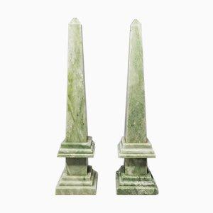 Handmade Green Marble Obelisks, Italy, 1960s, Set of 2