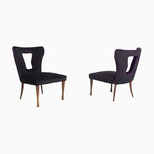 Vintage Italian Armchairs in Black Velvet, Wood and Brass, Set of 2