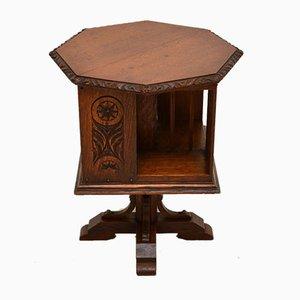 Small Antique Arts & Crafts Oak Revolving Bookcase