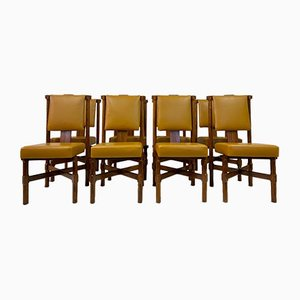 Italian Iroko and Leather Dining Chairs, 1960s, Set of 8