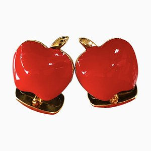 Red Hand-Enameled Sterling Silver Apple Cufflinks from Berca