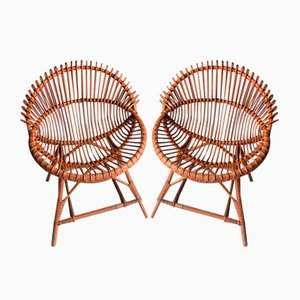 Bamboo Wicker Armchairs, 1960s, Set of 2