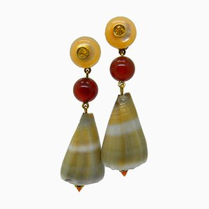 Yellow Sapphire, Carnelian, Mother-of-Pearl, Shell & Yellow Gold Earrings from Berca