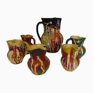 Vintage Art Deco Vases, 1940s and 1950s, Set of 6