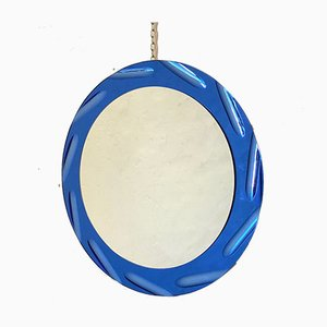 Blue Round Mirror from Cristal Art, 1970s