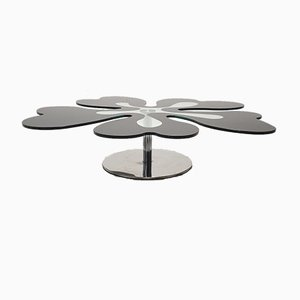 Mid-Century Italian Flower Table in Chrome and Glass, 1980s