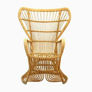 Large Rattan Armchair from Rohé Noordwolde, 1970s