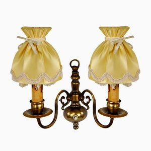 French Brass Wall Lamps, Set of 2
