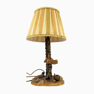 Vintage Table Lamp Carved in Wood, 1950s or 1960s