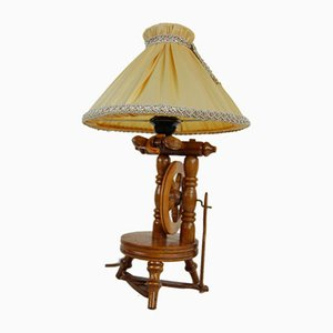 Vintage Wooden Spinning Wheel Lamp