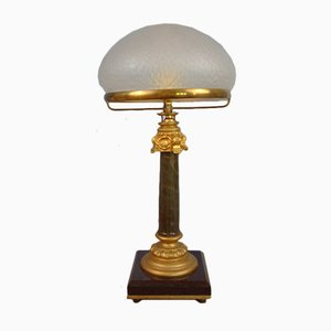 Empire Style Black and Gilded Marble Table Lamp, 1930s