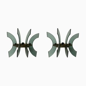 Mid-Century Modern Green Glass and Brass Wall Sconces, 1950s, Set of 2