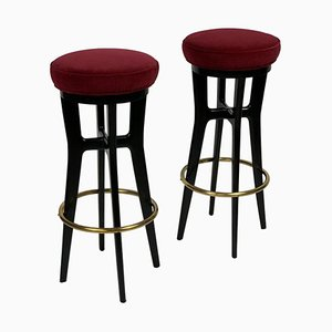 Mid-Century Italian Slender High Stools with Brass Details, Set of 2