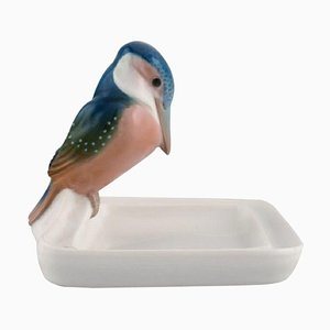 Art Deco Bowl in Porcelain with a Kingfisher by Paul Walther for Meissen