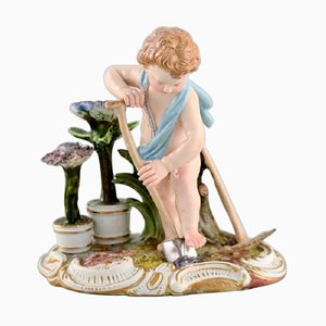 Boy Gardener in Hand-Painted Porcelain Boy Gardener from Meissen, Late 19th Century