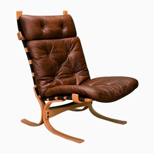 Mid-Century Danish Brown Leather Swivel Bentwood Lounge Chair, 1970s