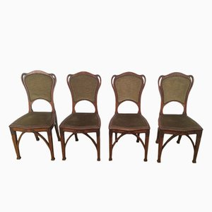 Art Nouveau Style Walnut Dining Chairs, Set of 4