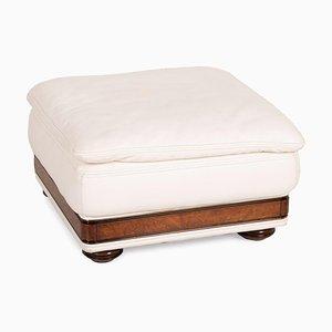 Cream Leather Stool from Nieri Corniche