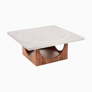 Aluminum Edged Coffee Table with Wooden Base, Germany, 1970s