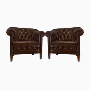 Deep Buttoned Leather Chairs, 1920s, Set of 2