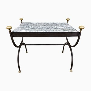 Coffee Table in Wrought Iron & Marble Top, Italy, 1980s