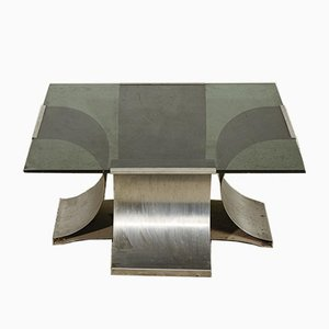 Steel and Glass Coffee Table by Francois Monnet, France, 1970s