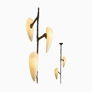 Hand-Sculpted Cast Bronze Chandeliers by William Guillon, Set of 2