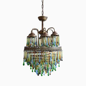 French Multicolored Waterfall Chandelier with Tear Drop Crystals
