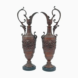 Brown Patinated Bronze Ewers, Set of 2