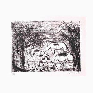 Nazareno Gattamelata, Horses, Original Etching, 1970s