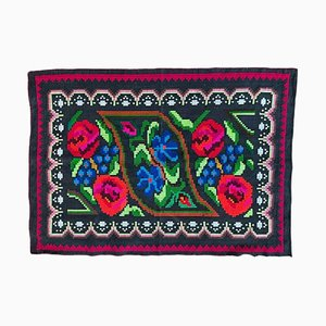 Small Romanian Carpet with Floral Design