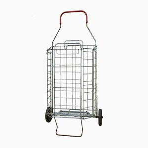 Vintage French Industrial Metal Wire Shopping Caddy, 1960s