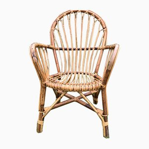 Vintage Mid-Century Bamboo and Rattan Armchair, 1950s