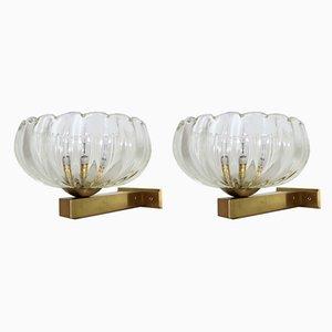 Italian Art Deco Brass and Murano Glass Wall Lights, 1970s, Set of 2