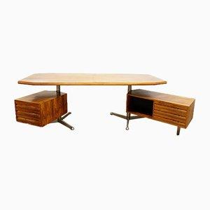 Italian Rosewood Desk by Osvaldo Borsani for Tecno Milano, 1950s