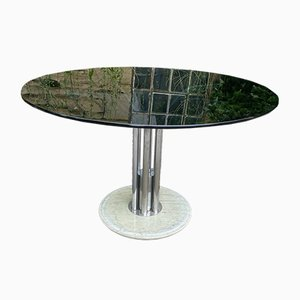 Italian Glass & Marble Dining Table, 1970s