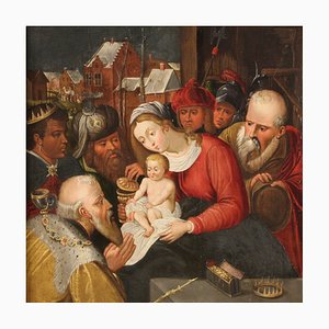 Antique Flemish Religious Painting, The Adoration of Magi, 17th Century